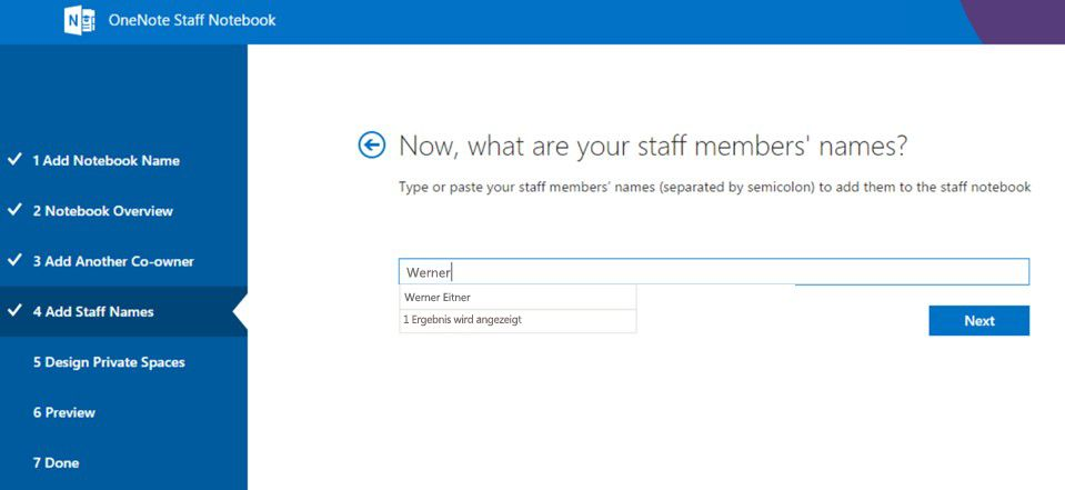 Fügen Sie die Mitarbeiter einzeln hinzu.