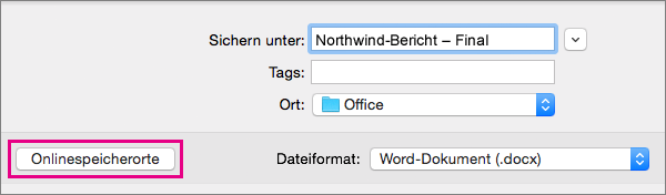 """Klicken Sie im Menü """"Datei"""" auf """"Speichern unter"""", und klicken Sie dann auf """"Onlinespeicherorte"""", um ein Dokument an einem Onlinespeicherort abzulegen."""
