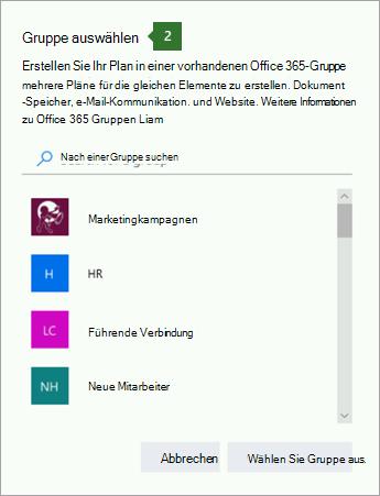 """Screenshot des Dialogfelds """"Gruppe auswählen"""""""