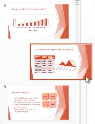 Ziehen einer PowerPoint-Folie an eine neue Position