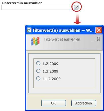 Klicken Sie auf die Schaltfläche 'Filter', um die eindeutigen Werte im Listenansicht-Webpart anzuzeigen.