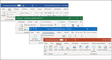 Aktualisierte visuelle Elemente im Menüband für Word, Excel, PowerPoint und Outlook