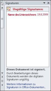Der Bereich 'Signaturen' mit einer ungültigen Signatur