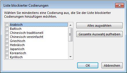 Liste 'Liste blockierter Codierungen'