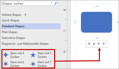 Der Minisymbolleiste mit neuen grundlegenden Shapes