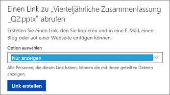 """Auswählen von """"Nur anzeigen"""", damit andere Benutzer die Datei anzeigen können"""