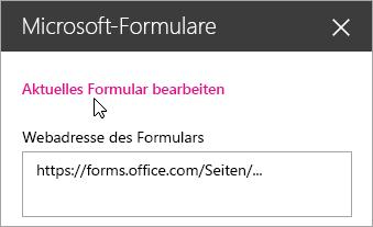 """Bearbeiten des aktuellen Formulars im Bereich """"Microsoft Forms-Webpart"""" für ein vorhandenes Formular."""