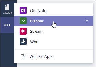 """Das Menü """"Apps"""" in Teams, zur Auswahl der Planner-App"""