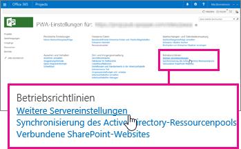 """Liste weiterer Servereinstellungen unter """"Betriebsrichtlinien"""""""