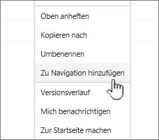 """Option """"zur Navigation hinzufügen"""" aus einem Seiten Eintrag"""