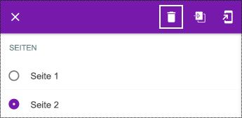 Löschen einer Seite in einem langen Kontextmenü in OneNote für Android