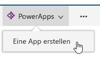 """Klicken auf """"PowerApps"""" und dann auf """"App erstellen"""""""