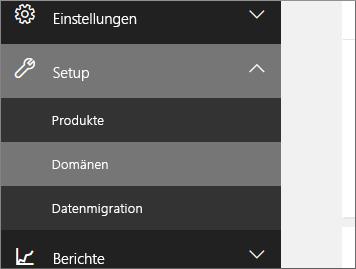 """Auf """"Setup"""", dann """"Domänen"""" klicken"""