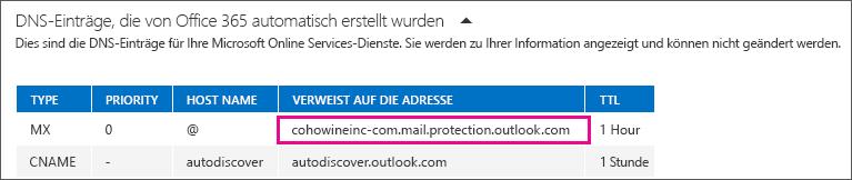 Notieren Sie den MX-Eintrag, der auf den Adresswert verweist.