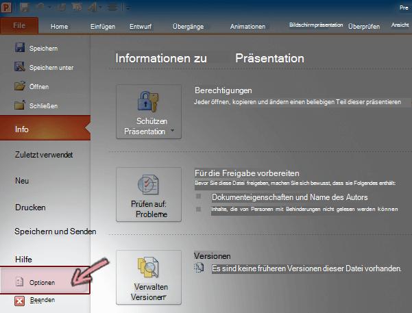 """Klicken Sie in PowerPoint 2010 im Menüband auf der Registerkarte """"Datei"""" auf """"Optionen""""."""