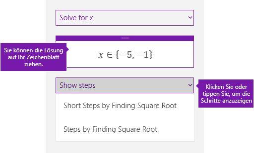 """Schaltfläche """"Schritte anzeigen"""" im Aufgabenbereich """"Mathematik"""""""