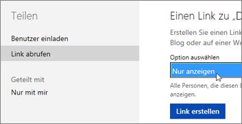 Option 'Nur anzeigen' im Dialogfeld 'Link abrufen'