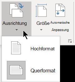 """Auf der Registerkarte """"Entwurf"""" können Sie im Menü """"Ausrichtung"""" die hoch-oder Querformatausrichtung für eine Visio-Seite auswählen."""