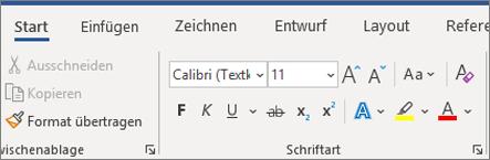 Hinzufügen und Formatieren von Text in Word