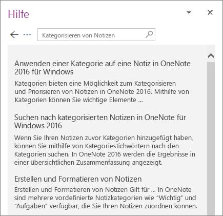 """Screenshot des OneNote-Bereichs """"Hilfe"""" mit Suchergebnissen für """"Notizen kategorisieren"""""""