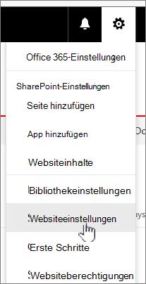 Websiteeinstellungen aus der Dokumentbibliothek