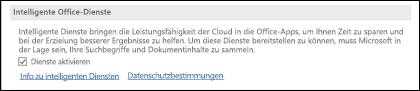 """Wechseln Sie zu """"Datei"""" > """"Optionen"""" > """"Allgemein"""", um die intelligenten Dienste zu aktivieren oder zu deaktivieren."""