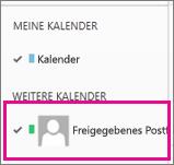 Outlook Web App mit einem ausgewählten Kalender eines freigegebenen Postfachs