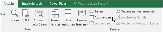 Ausblenden oder Anzeigen einer Arbeitsmappe aus der Ansicht > Windows > ausblenden/einblenden