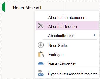 """Option """"Abschnitt löschen"""" in OneNote Online."""