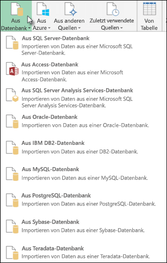 "Optionen für ""Power Query aus Datenbank"""