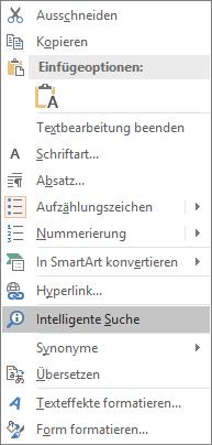 """Zeigt die PowerPoint-Option """"Intelligente Suche""""."""