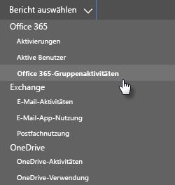 Bericht auswählen – Office 365-Gruppen