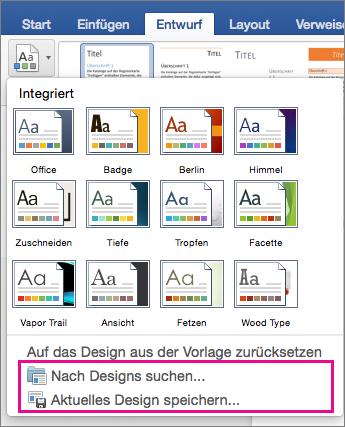 """Auf der Registerkarte """"Entwurf"""" ist der Formatvorlagenkatalog hervorgehoben"""