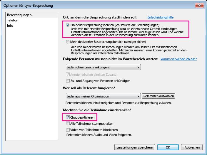 Screenshot der deaktivierten Benutzeroberfläche im Fenster Lync-Besprechungsoptionen