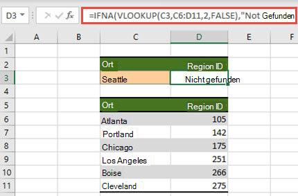 Abbildung der Verwendung von WENNNV mit SVERWEIS, um die #N/A-Fehlers zu verhindern.