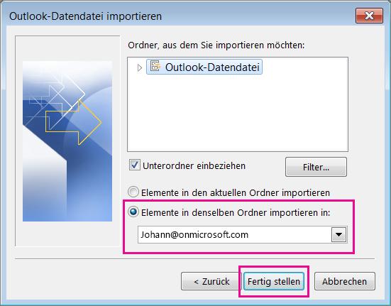 """Wählen Sie """"Fertig stellen"""" aus, um die Outlook-PST-Datei in Ihr Office 365-Postfach zu importieren."""
