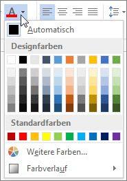 Palette der Schriftfarben