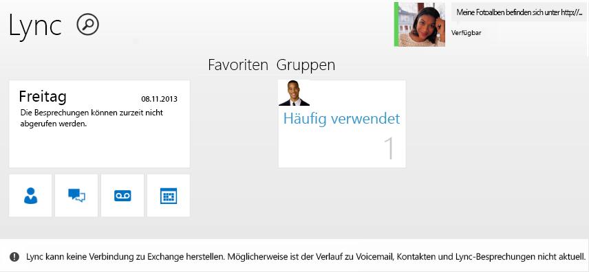 Screenshot der Fehlermeldung: Lync kann keine Verbindung zu Exchange herstellen. Möglicherweise ist der Verlauf zu Voicemail, Kontakten und Lync-Besprechungen nicht aktuell.