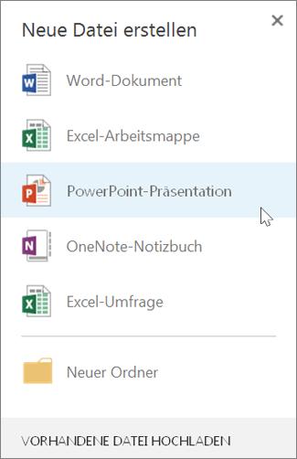 Erstellen einer neuen PowerPoint-Präsentation