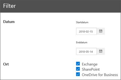 Filter für Daten-Governance-Berichte