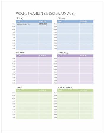 Wochenkalender für Termine (Word)