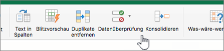 """Menü """"Daten"""" auf der Excel-Symbolleiste mit ausgewählter Datenüberprüfung"""