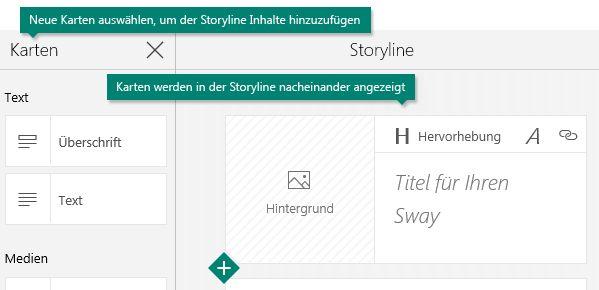 Karten-Aufgabenbereich und Sway-Storyline