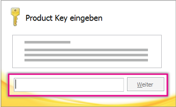 Geben Sie den Product Key ein.