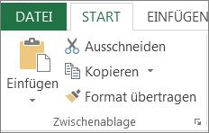 Schaltflächen 'Kopieren' und 'Einfügen' auf der Registerkarte 'Start'
