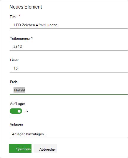Formular für einzelnes Element für eine Liste