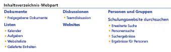 Inhaltsverzeichnis-Webpart