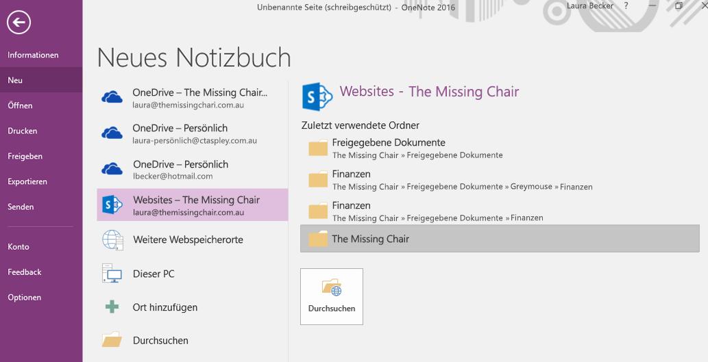 OneNote für Windows 2016: Benutzeroberfläche zum Auswählen eines Ordners für neue Notizbücher