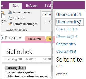 "Screenshot des Dropdownmenüs ""Formatvorlagen"" in OneNote 2016"
