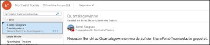 Unterhaltungen werden im freigegebenen Postfach Ihrer Office 365-Gruppe geführt.